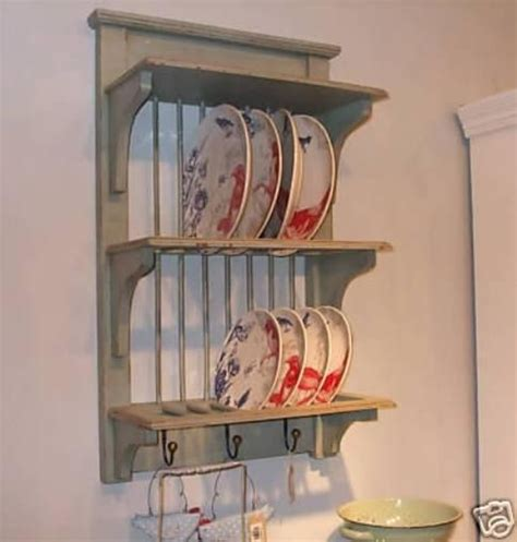 green grey shabby chic painted kitchen plate rack www