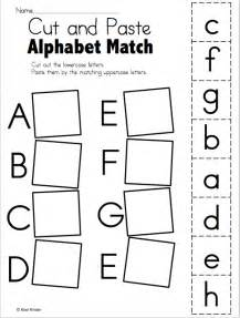 alphabet match worksheet cut and paste freebie