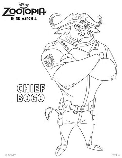 disney coloring pages zootopia free disney zootopia chief bogo coloring page mama likes