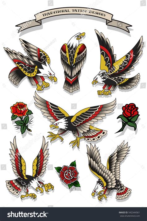 traditional eagle tattoo vector vector traditional tattoo eagles set tattooing designs