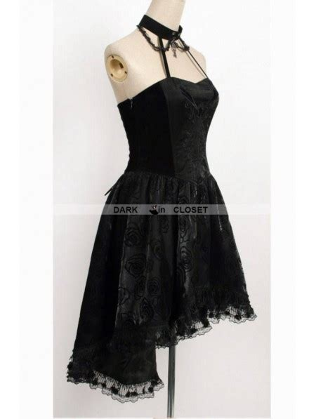 Pattern Gothic Dress | punk rave black halter floral pattern high low gothic