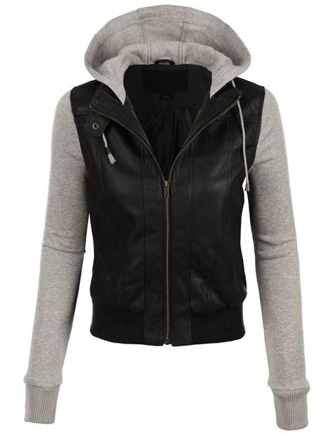 Jaket Zipper Hoodie Rockstar by Womens Faux Leather Moto Bomber Jacket With Fleece Hoodie