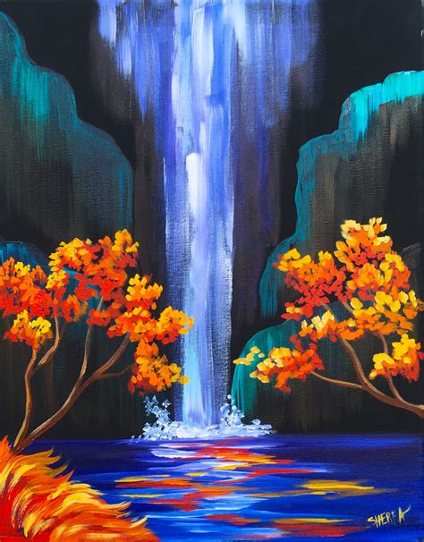 acrylic paint on autumn aloha easy step by step waterfall acrylic painting