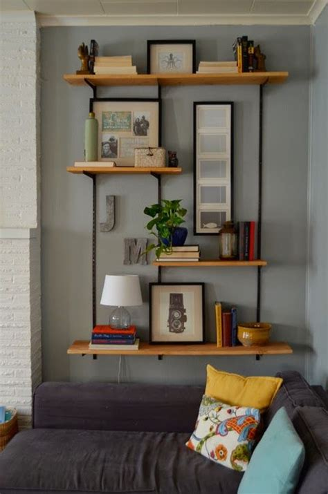 living room tour industrial shelving by meg padgett from