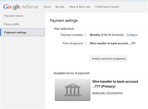 adsense settings how to add gtbank account and swift bic code to google