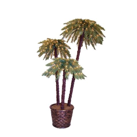 fake tree with lights shop 6 ft potted potted caribbean palms pre lit artificial