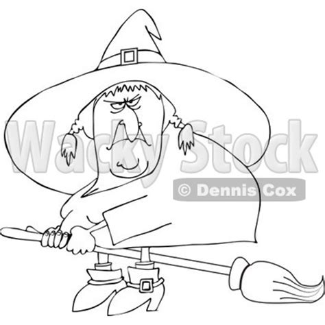 mean witch coloring page clipart outlined mean ugly witch flying on a broom