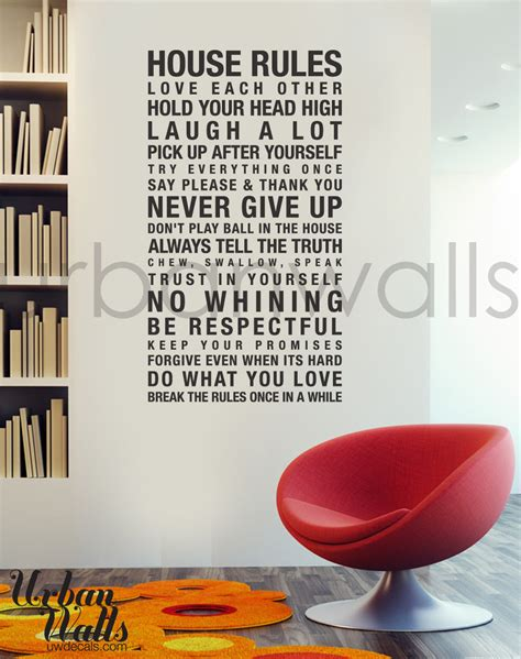vinyl wall stickers vinyl wall decal sticker art house rules