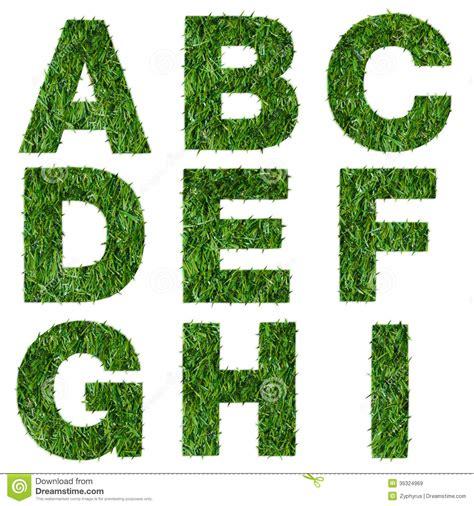 letters a b c d e f g h i made of green grass stock image