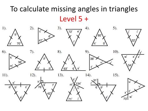 finding missing angles of a triangle worksheet triangles identifying and finding missing angles