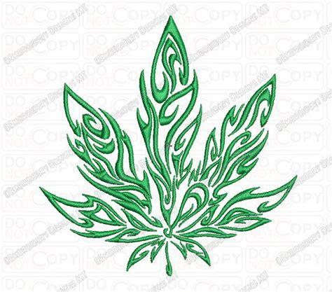 tattoo tribal weed marijuana tribal flame cannabis leaf embroidery design in