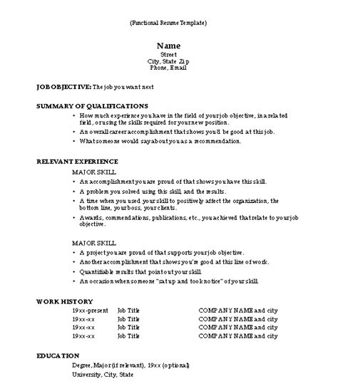 Resume Format Template by Functional Resume Template