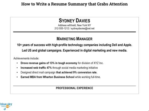how to write a summary for a resume exles how to write a resume summary