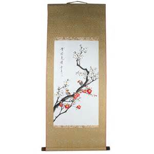 Painted Vase Asian Scroll Painting Hand Painted Hanging Watercolor
