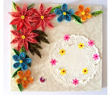 Handmade Cards With Flowers - multicolor flowers corner handmade greeting card buy