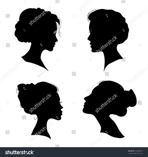 Hairstyle Tools Designs For Silhouette Cameo by Portrait Beautiful Hairstyle Profile Stock