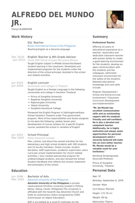 Resume Sles For Esl Teachers Esl Resume Sles Visualcv Resume Sles Database