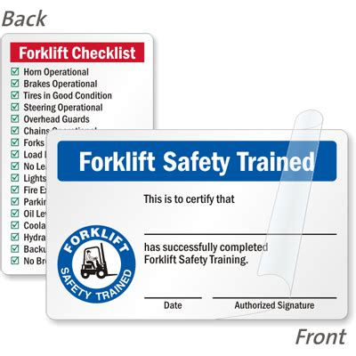 forklift safety trained certification 2 sided wallet card