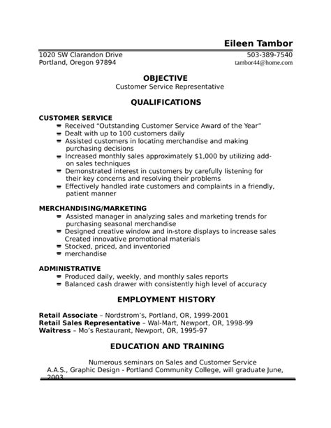 one page customer service representative resume template