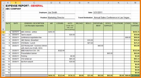 Microsoft Excel Template Expense Report Pin Expense Reimbursement Form Microsoft Excel Document