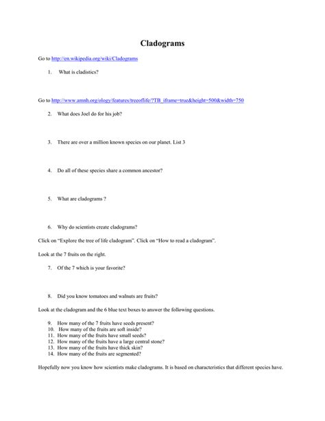 Cladogram Worksheet Answers by Cladogram Worksheet Answer Key Deployday