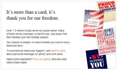 Send A Card To The Troops by Shutterfly Send A Free Thank You Card To The Troops