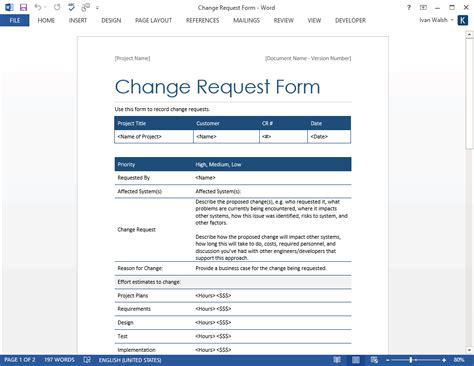 change request form template change request form templates ms excel word software