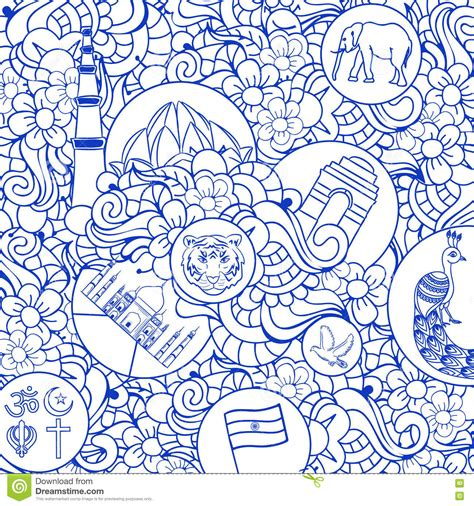 doodle god independence day in a doodle seamless pattern for indian independence day stock
