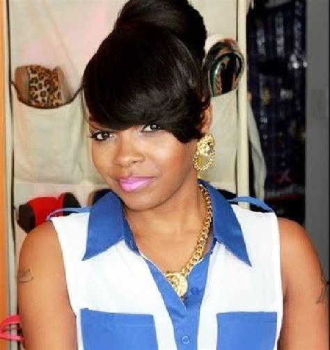 bun and bang hairstyle black women ponytail styles with bangs for black women hairstyles