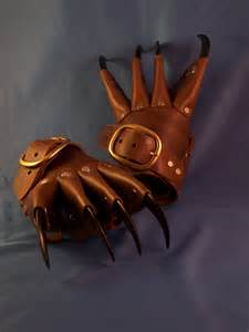 brown steunk claw gauntlets gloves by