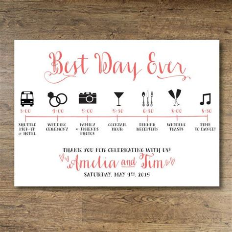 wedding itinerary for guests template printable wedding day guest itinerary card