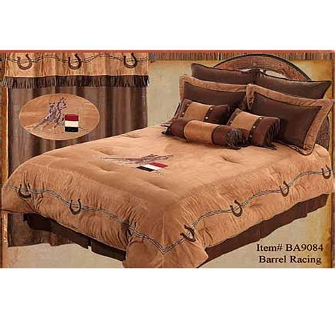 western cowgirl barrel racer embroidered western comforter set