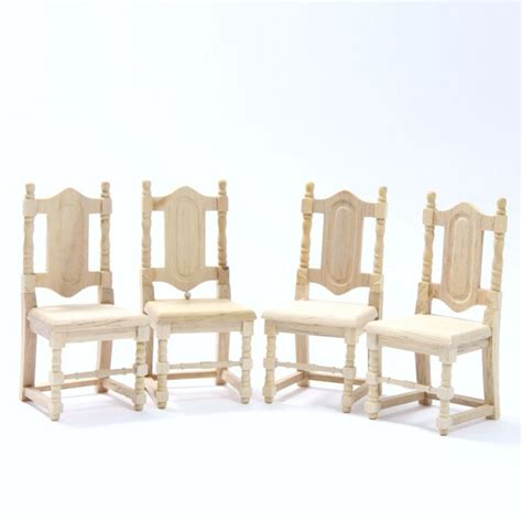 plain wooden dolls house set of 4 dolls house dining chairs plain wood bef085