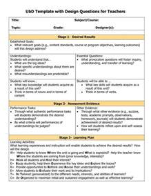 How To Design A Lesson Plan Template by Understanding By Design Template Kindergarten Common