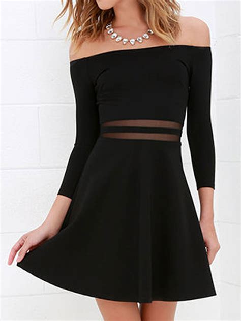 Mesh Panel Sleeve Dress black shoulder mesh panel 3 4 sleeve dress choies