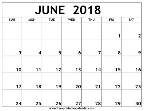 2018 Calendar For June June 2018 Printable Calendar