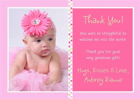 Thank You Card Messages For Gifts - baby thank you card wording