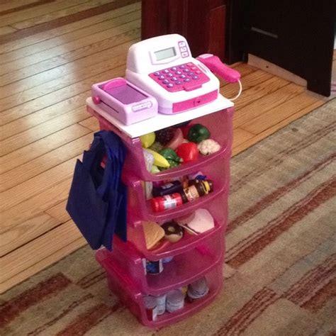 Kid Bathroom Sets - diy toy grocery store for around 10 5 dollar tree bins glued together foam board top