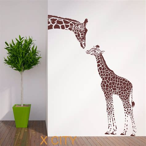 animal wall stickers for bedrooms giraffe and baby african animal wall sticker vinyl art decal window decal stencil room