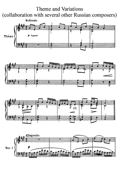 definition theme and variations in music variations on a russian theme in a major various imslp