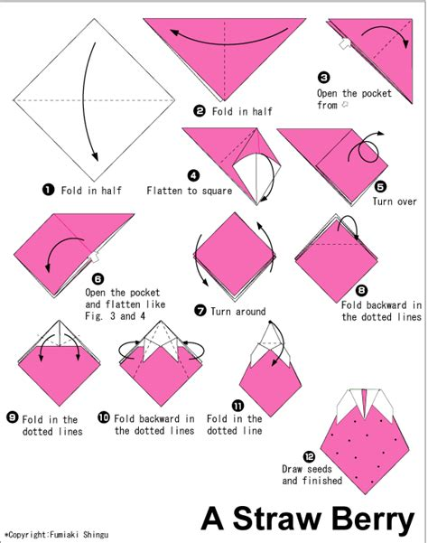 How To Make A Small Origami Flower - strawberry easy origami for