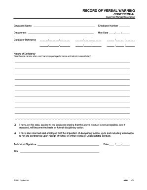 template of verbal warning verbal warning forms and templates fillable printable sles for pdf word pdffiller