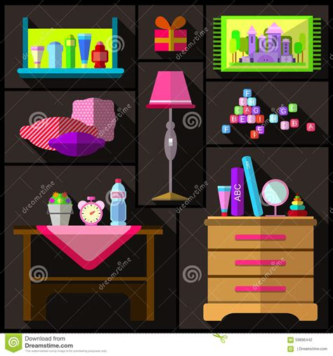 oggetti per da letto da letto per le ragazze un insieme di mobilia e di