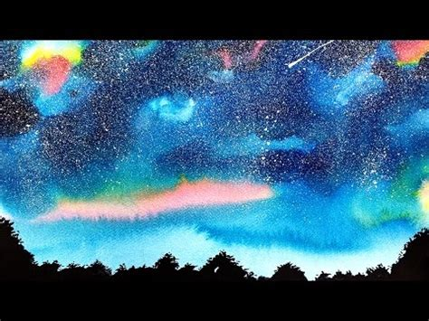 watercolor tutorial starry night basic watercolor painting tutorial starry night sky easy