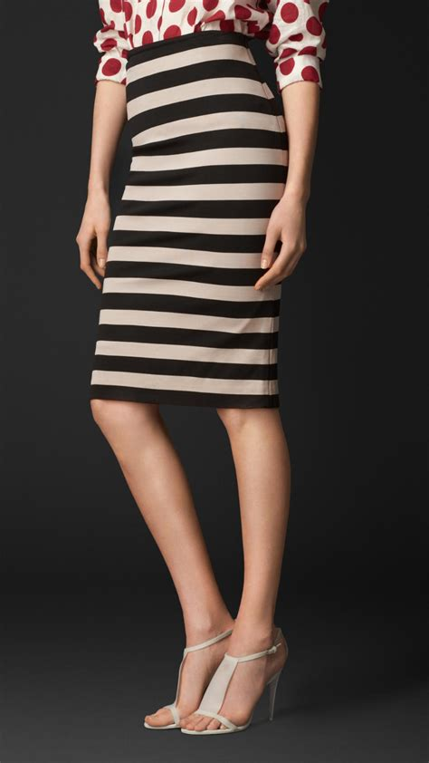 burberry striped pencil skirt in black trench black lyst