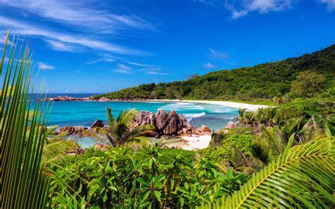 anse coco beach  paradise island la digue island seychelles  ultra hd wallpaper  desktop