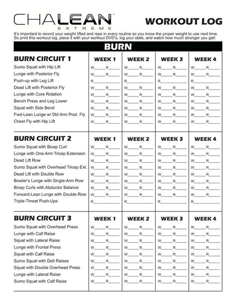 workout sheet chalean workout sheets search workout
