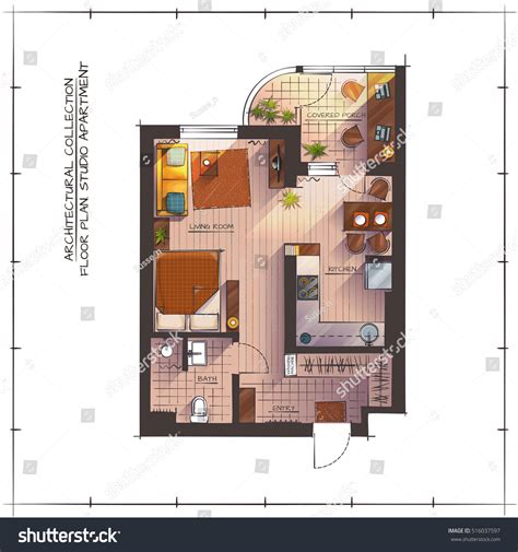 architectural color floor plan furniture top stock vector architectural color floor plan studio apartment stock