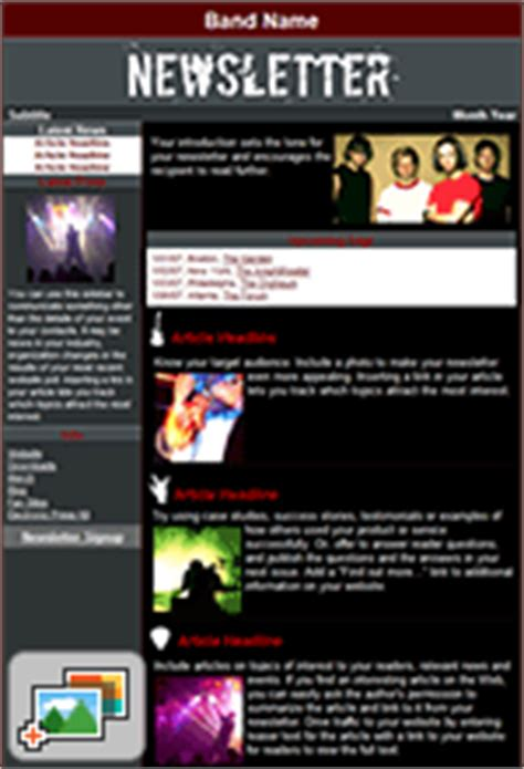 band mailing list template complete list of constant contact e mail templates tech