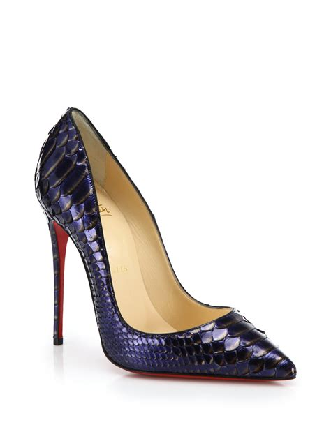 christian louboutin shoes lyst christian louboutin so kate metallic python pumps